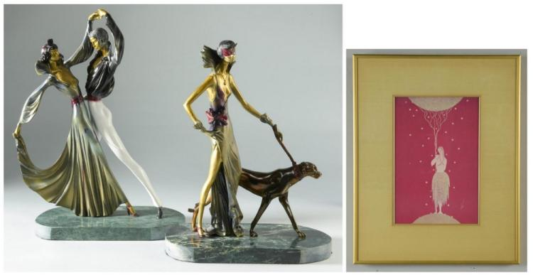 2 Bronzes & Print after Erte