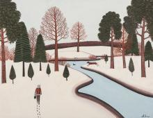 M. Korsak Painting - Winter Landscape