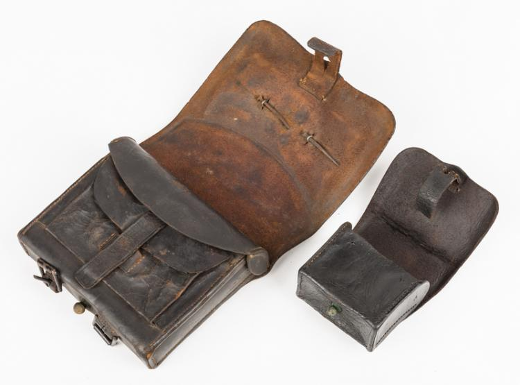 2 civil war items  cartridge box  u0026 fuse pouch