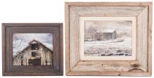 2 Marion Cook Oil on Canvas Barn Scenes