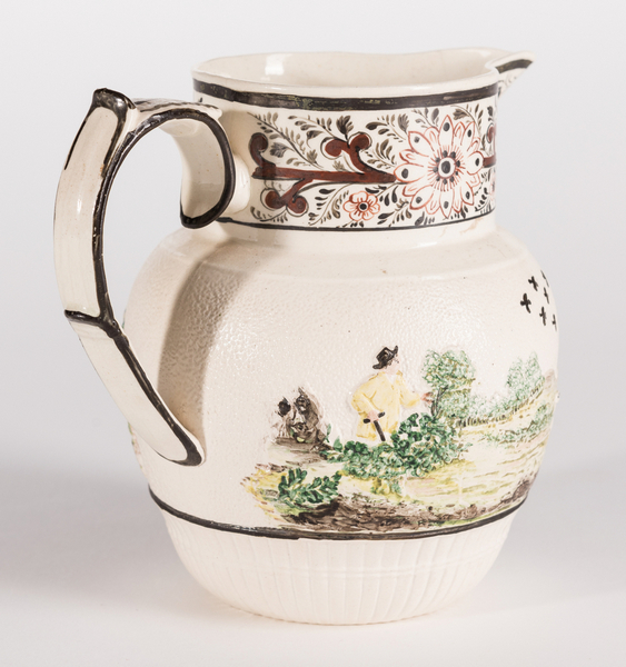 Creamware Hunt Jug Dr Wall Dish And Pearlware Bowl