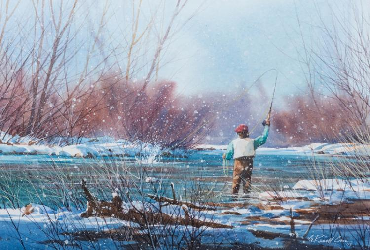 G. Russell Case Watercolor, Fly Fishing Scene