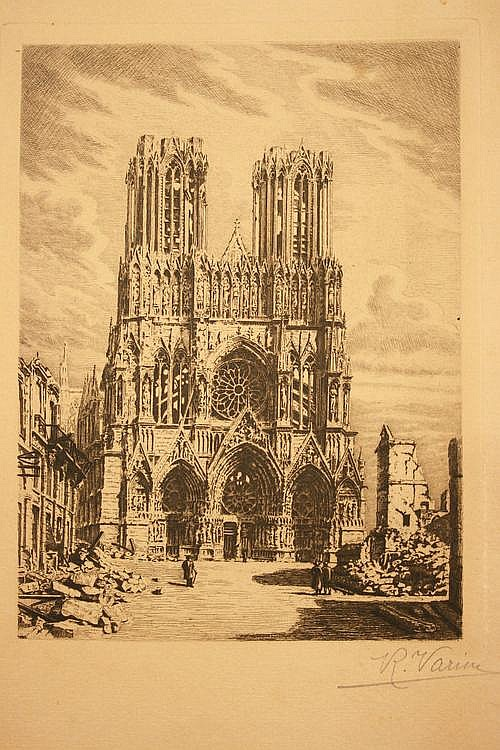 Raoul Varin, Notre Dame at Reims with Ruins, circa
