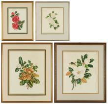 4 Lila Moore Keen Floral Watercolor Paintings