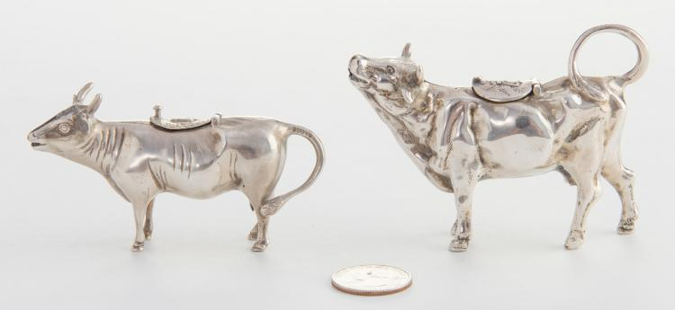 2 Silver Cow Creamers , one 925