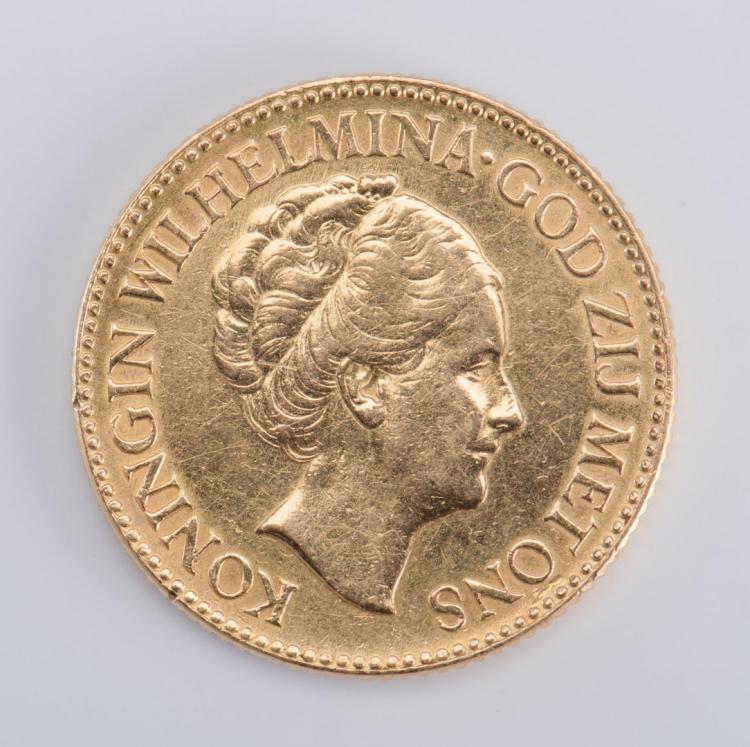 1927 Dutch 10 Guilders Gold Coin
