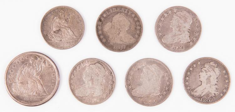 1859 - O $1 US Seated Liberty & 6 Early US Liberty Half Silver Dollars