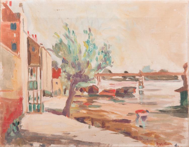 Signed Doyly-John Riverfront Scene, Oil on Canvas