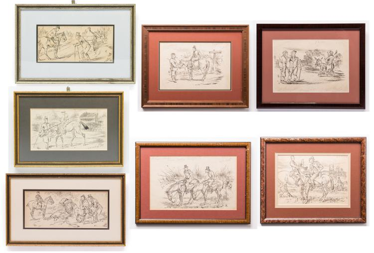 7 Henry Ardmore Sandercock Ink Drawings, Horses and Donkeys
