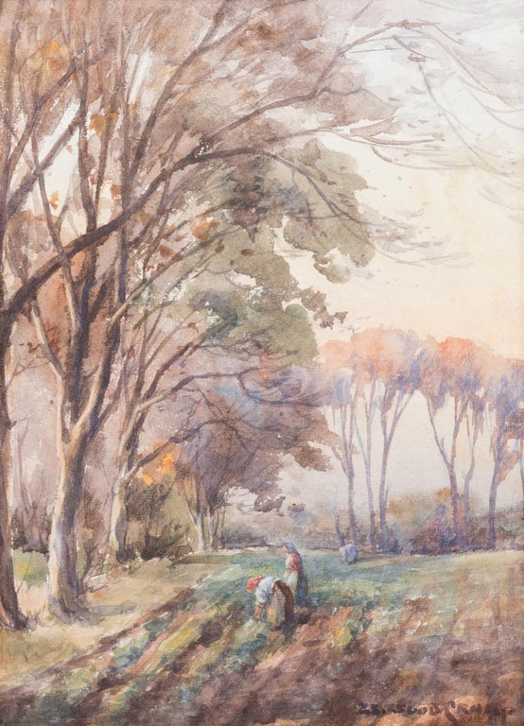 Signed European Watercolor Landscape