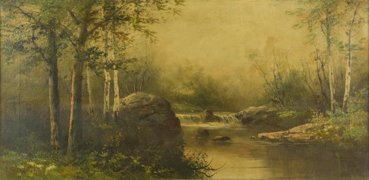 Landscape, O/C, possibly after Alfred R. Mitchell