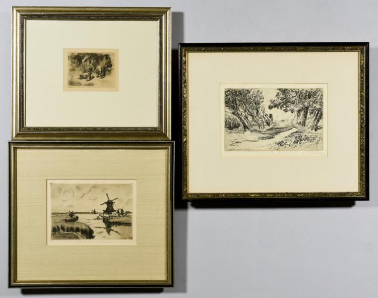 3 European prints incl. Buhot, Haden