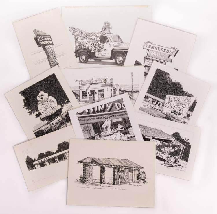 James Caulfield Ink Drawings Vintage Roadside Businesses