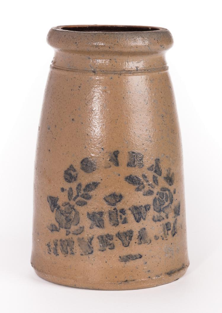 PA Cobalt Decorated Stoneware Canning Jar