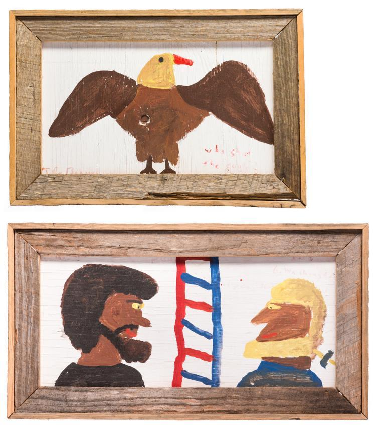 2 Robyn Beverland Patriotic Folk Art Paintings