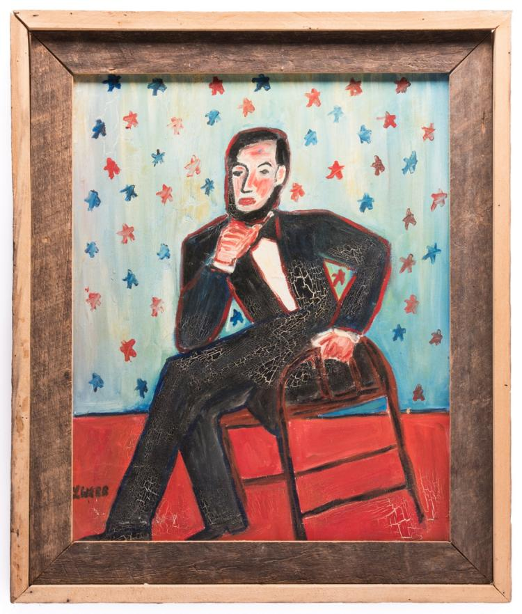 L. Webb Folk Art Lincoln Portrait