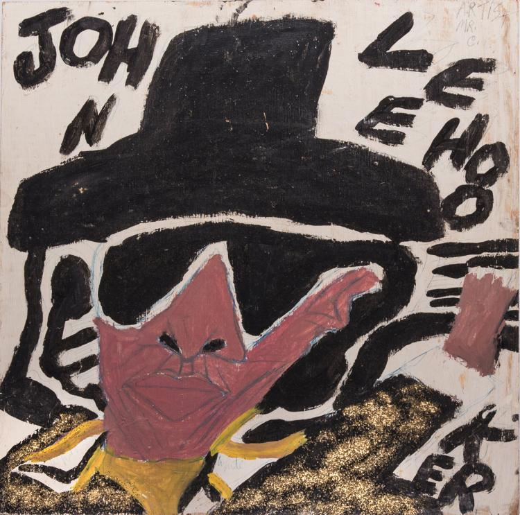 Double sided Chuckie Williams Oil on Board, Folk Art