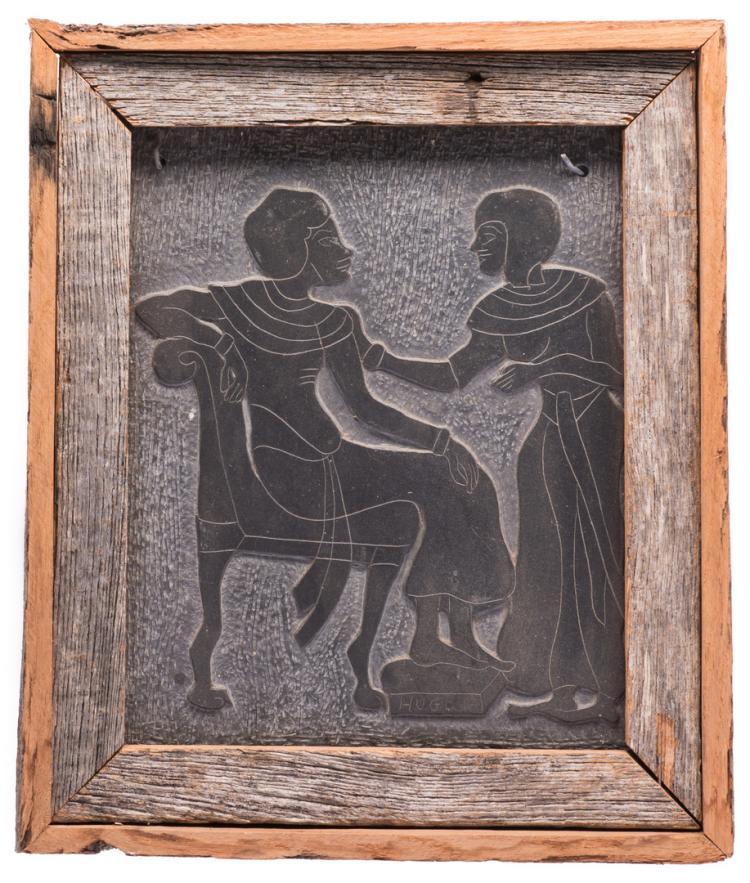 Folk Art Carving On Slate, signed Hugo