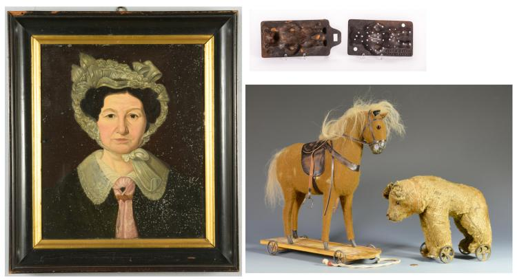 2 German Wheel Toys, Folk Art Portrait, & Burke Candle Mold