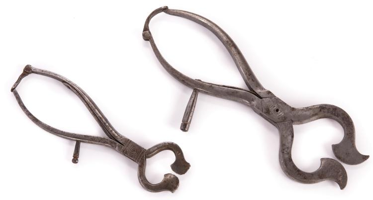 2 Hand-Wrought Iron Sugar Nippers