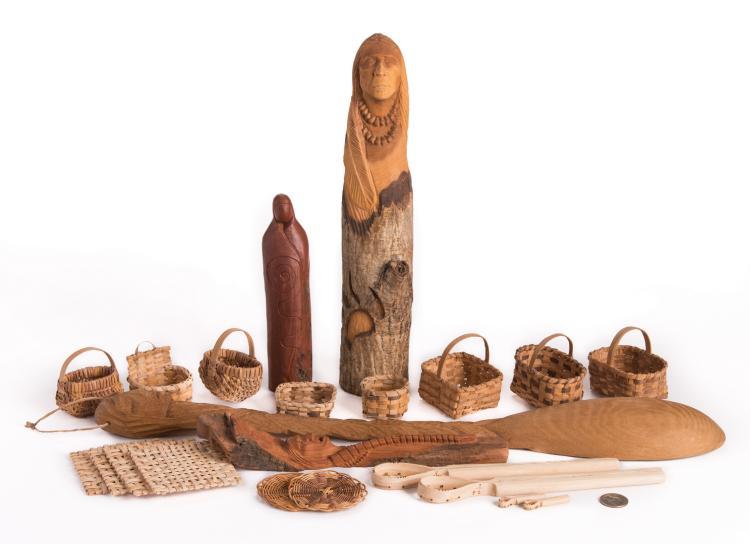 20 Pcs. Cherokee Indian Carvings/Miniature Baskets