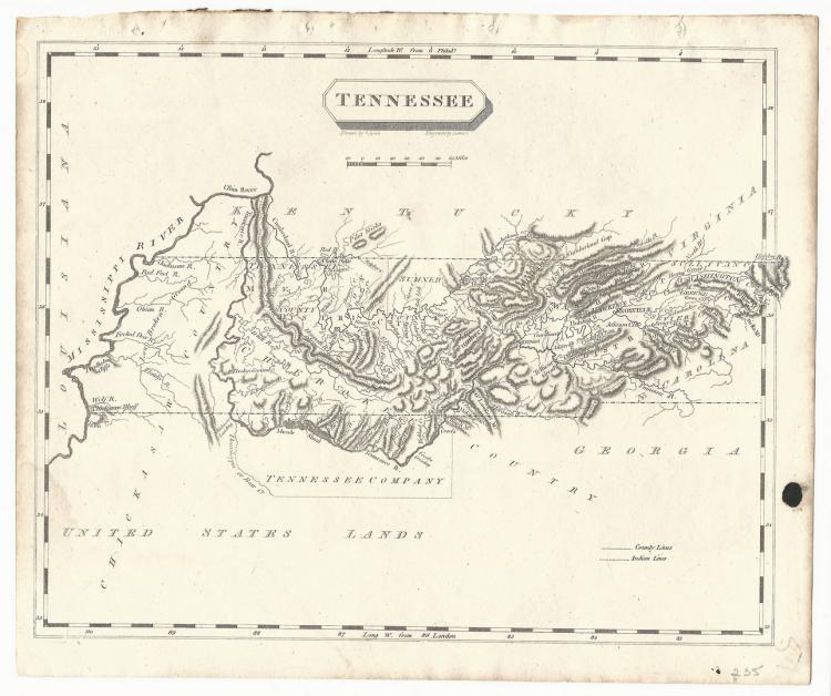 Tennessee Map, Samuel Lewis & Alexander Lawson, 1804