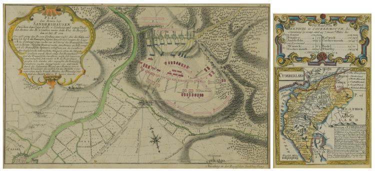 2 18th C. European Maps, Bowen & Buchhandlung