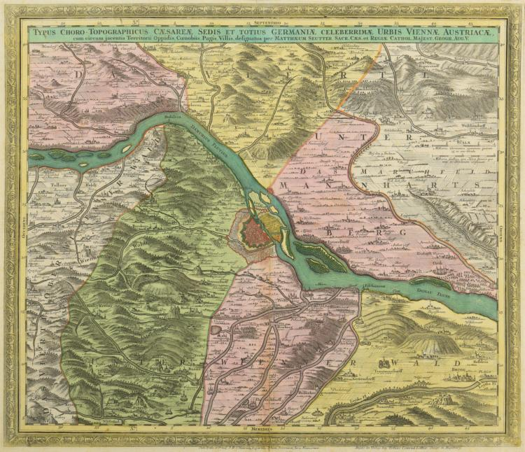 Tobias Conrad Lotter Map of Germany, Vienna, 1760
