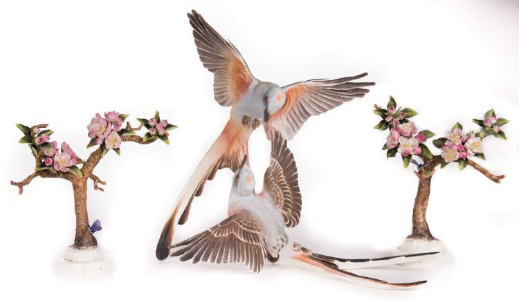 Pair Dorothy Doughty Crabapples and Butterflies and Scissor-Tailed Flycatcher
