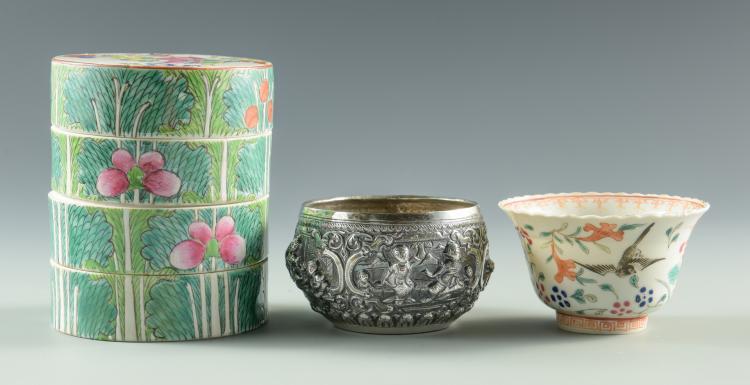 Asian Silver and Porcelain bowls, 3 pcs