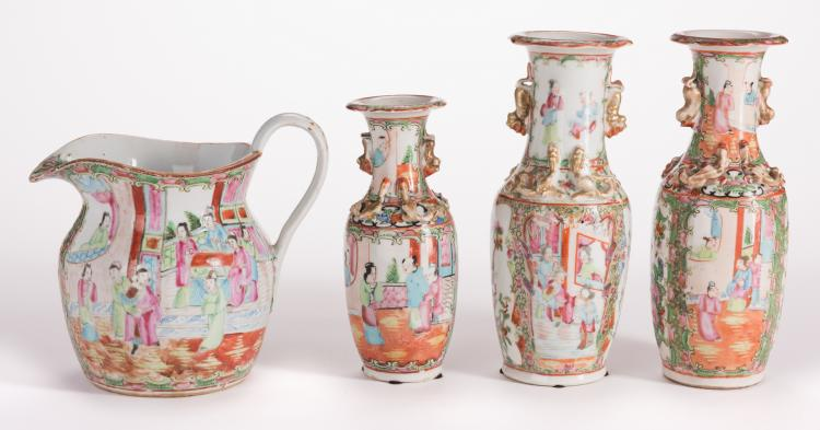 3 Chinese Rose Medallion Vases & Pitcher, 4 Items Total