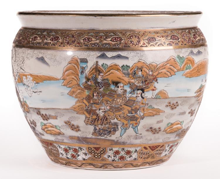 Japanese Satsuma Porcelain Fish Bowl