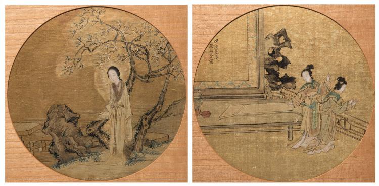 2 Chinese Circular Fan Paintings