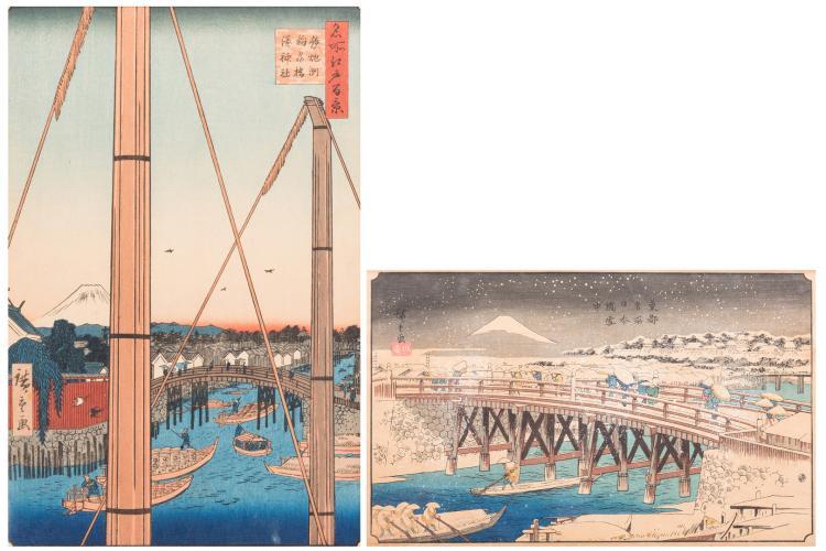 2 Hiroshige Woodblock Prints, 20th c.