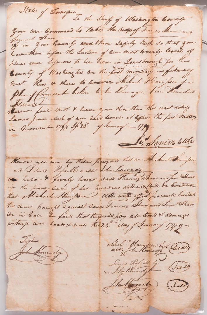 4 East TN Documents, inc. Jas. Sevier