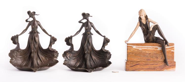 3 Bronze Female Figures, inc. after Carlier