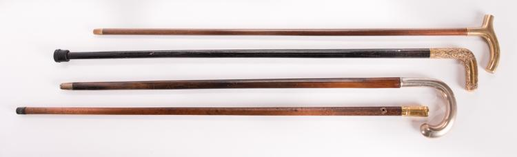 4 Silver & Gold Metal-handled Walking Sticks