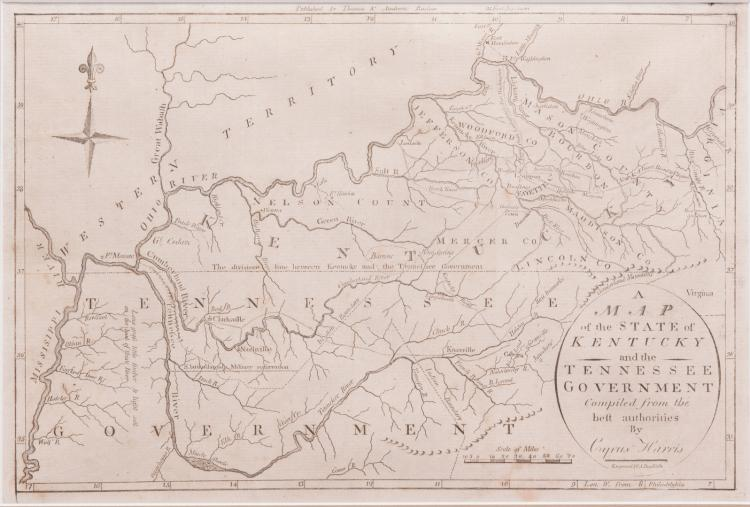 Kentucky and Tennessee Map, 1796 Cyrus Harris
