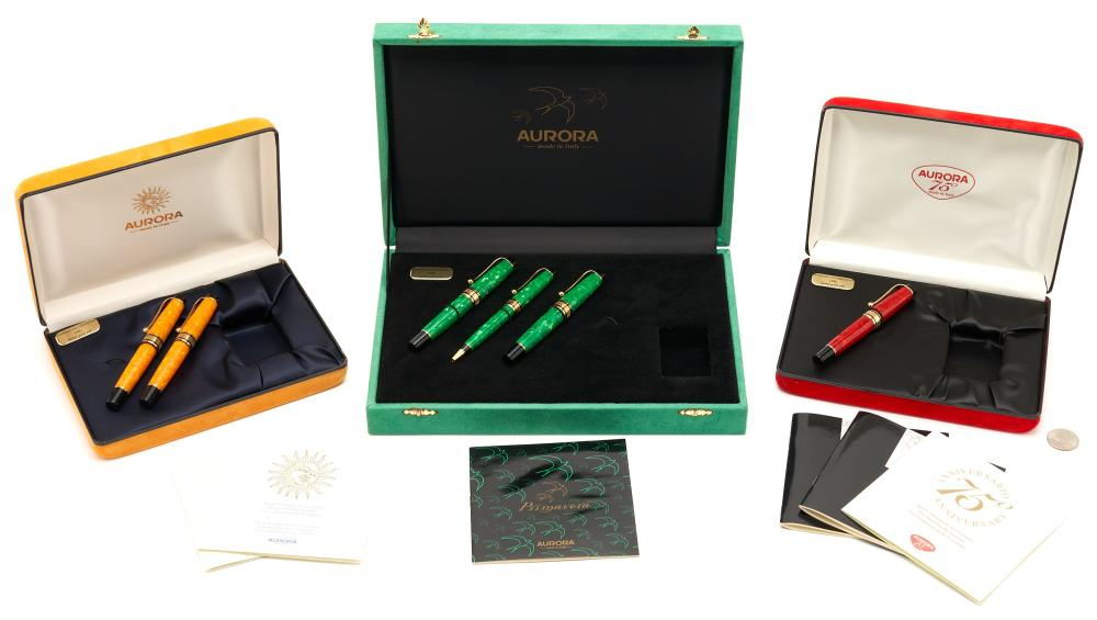 6 Aurora Writing Instruments, incl. Fountain Pens w/ 18K Nibs