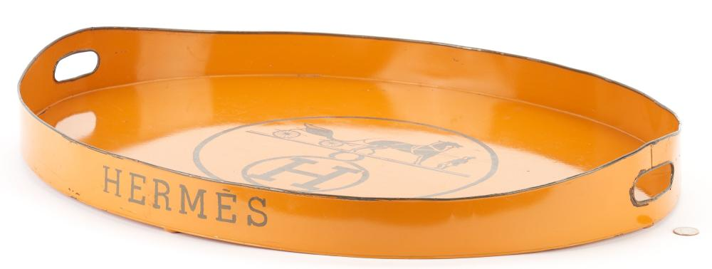 Hermes Orange Tole Logo Tray