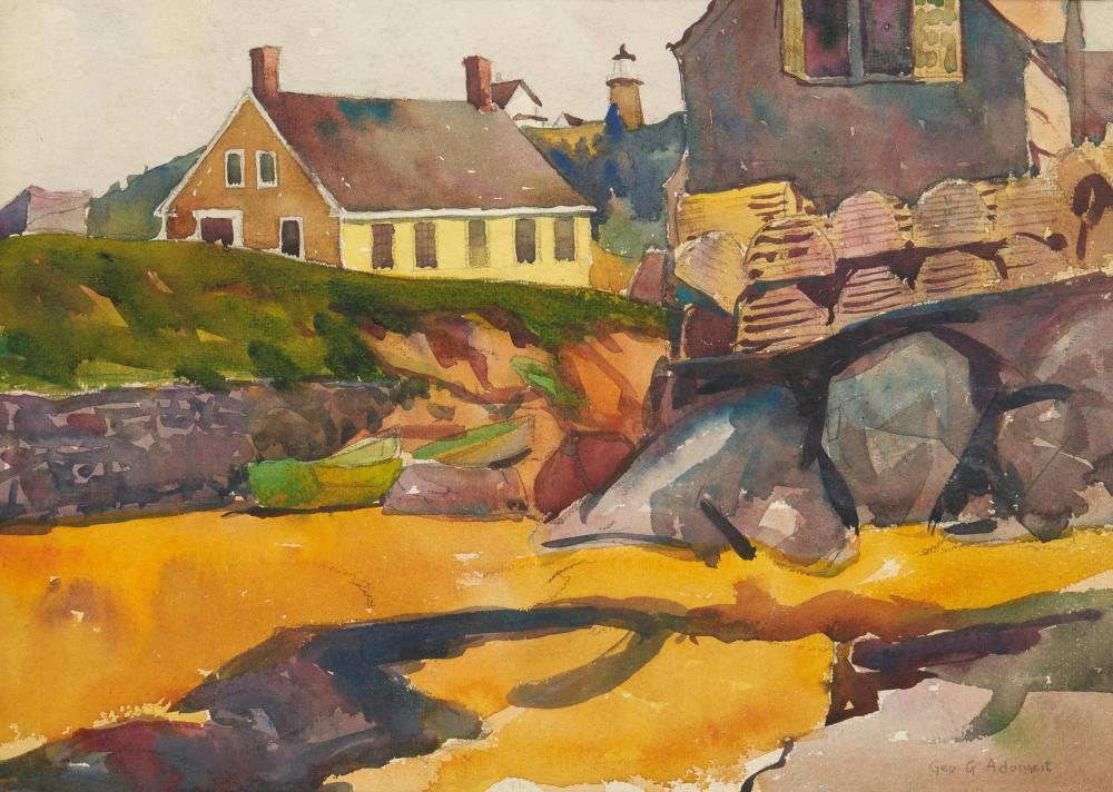 George Adomeit W/C, Beachside Village Painting