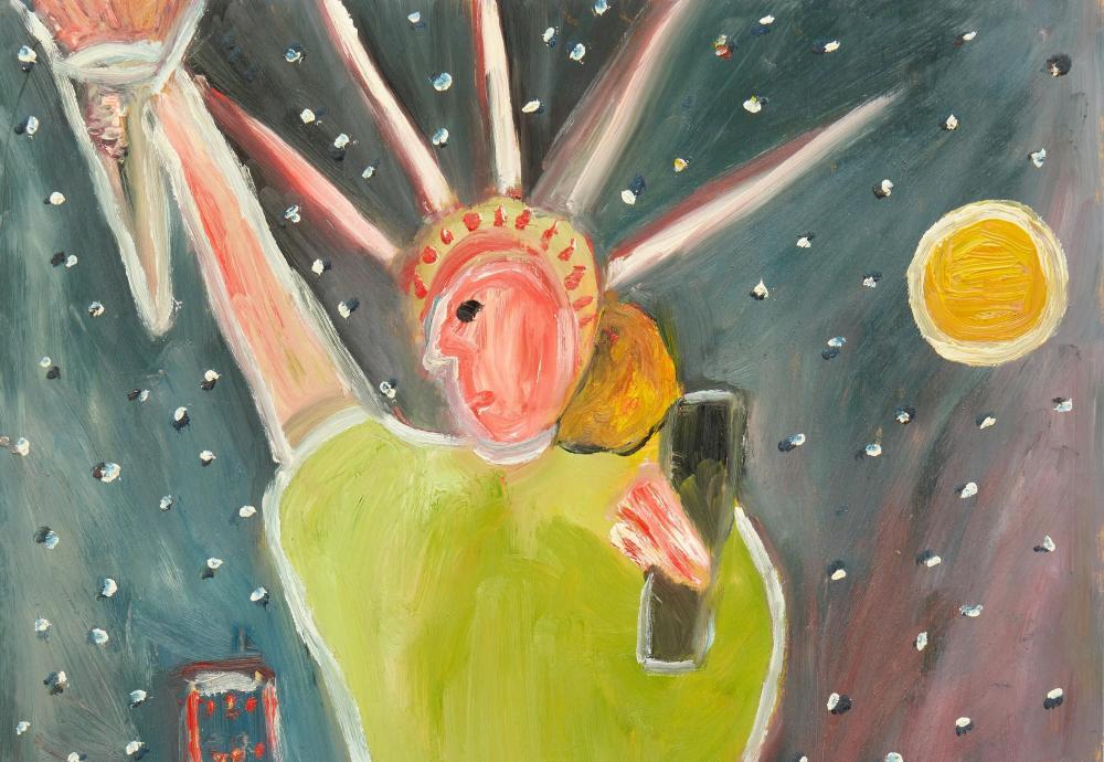 2 Lilian Webb Statue of Liberty Outsider Art Paintings