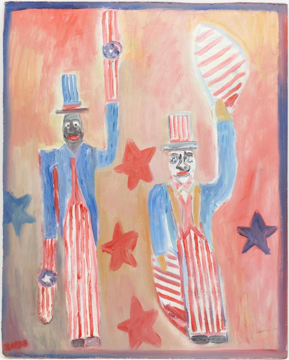 Lilian Webb Outsider Art Painting, Two Uncle Sams