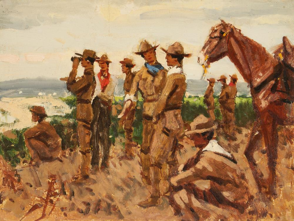 Gilbert Gaul Oil on Canvas, Military Scouting Party