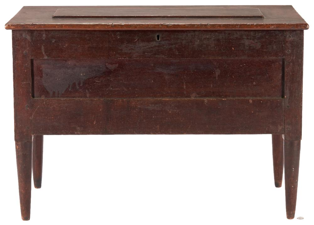 Southern Walnut Blanket Chest on Tall Tapered Legs, Old Surface