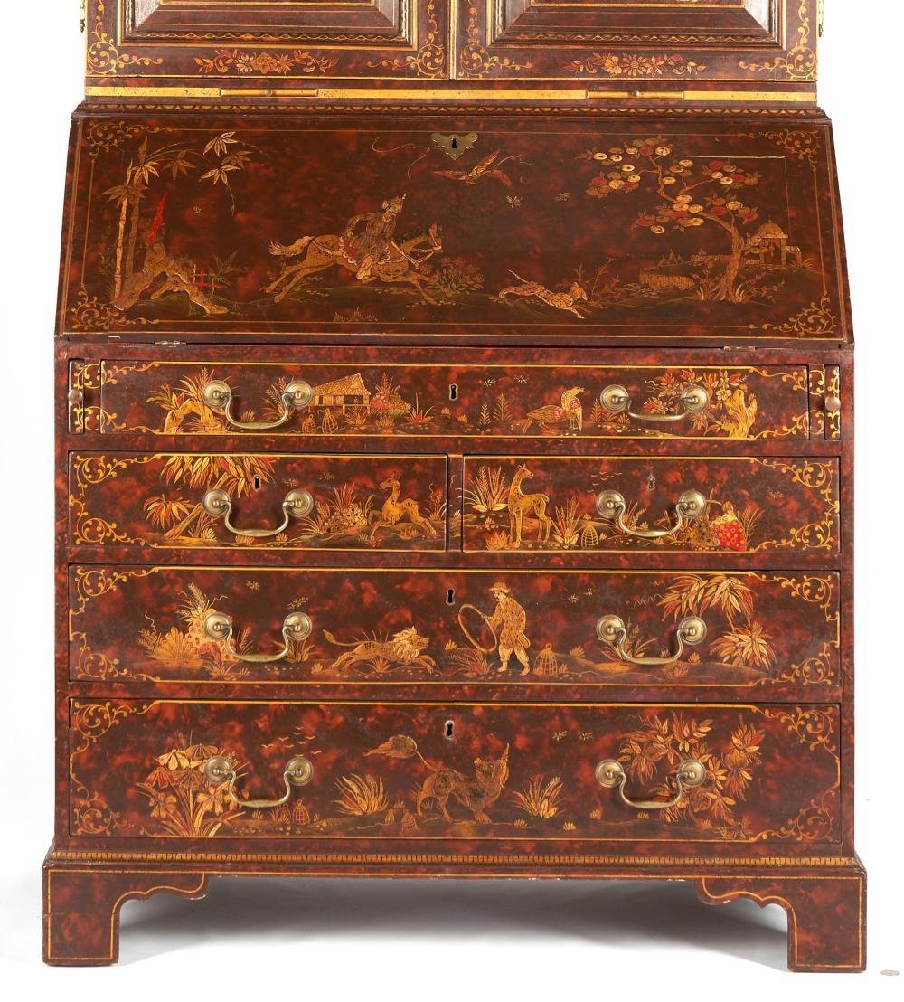 Georgian-Style Chinoiserie Decorated Secretary Bookcase