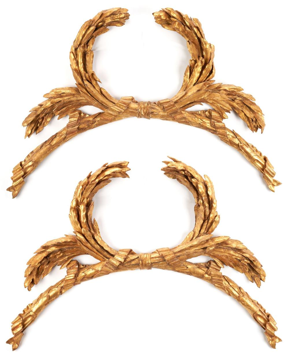 Pair of Large Architectural Carved Gilt Garland Swags, Italian