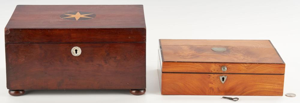 2 19th C. Wooden Boxes, incl. Sewing Kit & Bone Tools