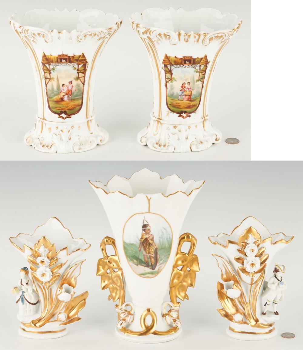 5 Old Paris Porcelain Vases, incl. Pairs