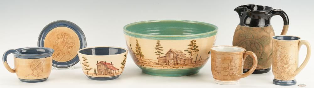 7 Winton & Rosa Eugene Cowpens, SC Pottery Items